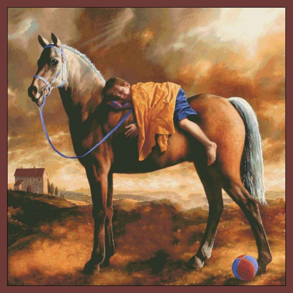 Embroidery Cross Stitch Kits Needlework The Horse Boy Crafts 14CT Canvas Counted Unprinted People DMC DIY Arts Handmade Decor