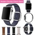 Pulseira de tiras de couro de luxo para a apple watch band 42mm link pulseira de aço inoxidável 38mm moderno fivela s/m/l tamanho preto azul