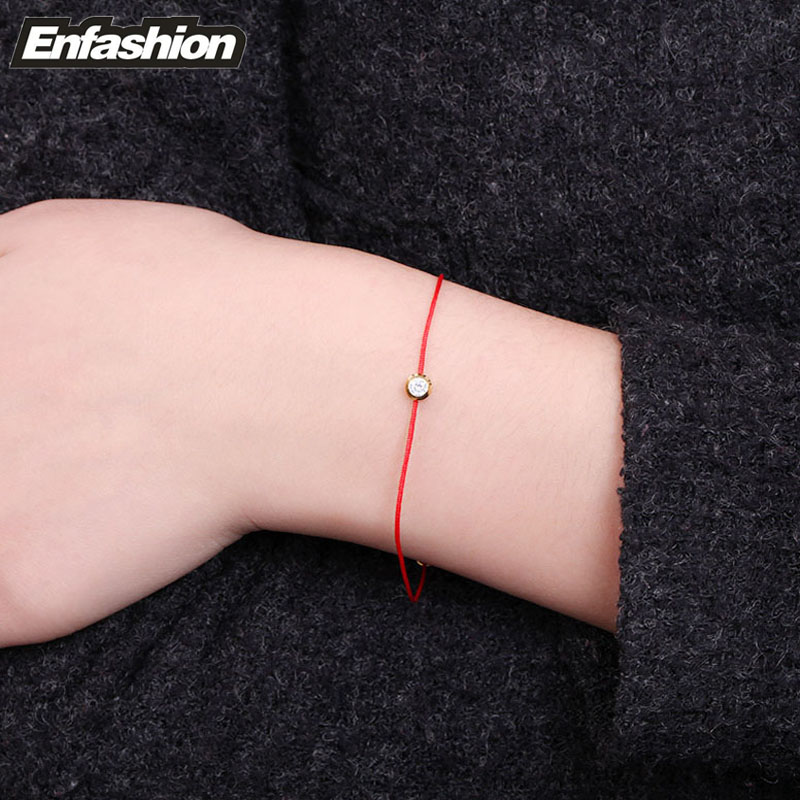 Fashion Crystal Red Line Bracelet Handmade Rose Gold Bracelets For Women Stainless Steel Chain Whole In Link