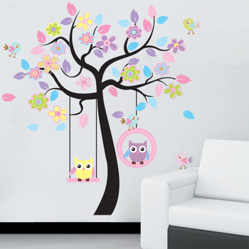 DIY Owl Bird Tree Wall Sticker Home Decor Room for Kids Living room Decals Children Baby Nursery Decorative Wallpapers stickers removable laundry wall stickers decorative sticker home decor for kids room living room home decor art decals