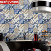 5Chinese style blue and white porcelain tile design wall stickers study room bathroom kitchen living room wall stickers