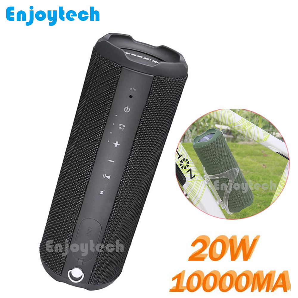 New 10000mAH 20W Cycling Wireless Bluetooth Speaker For Bike Waterproof Portable Subwoofer MP3 Player for IPhone Xiaomi Phones 10000mah 20w outdoor cycling wireless bluetooth speaker for bike 10w 2 portable waterproof speaker subwoofer for android iphone