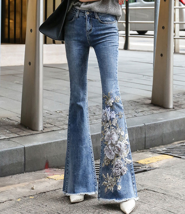 Autumn Three-dimensional embroidery flowers slim skinny   jeans   women's high waist flare pants casual denim pants feminino