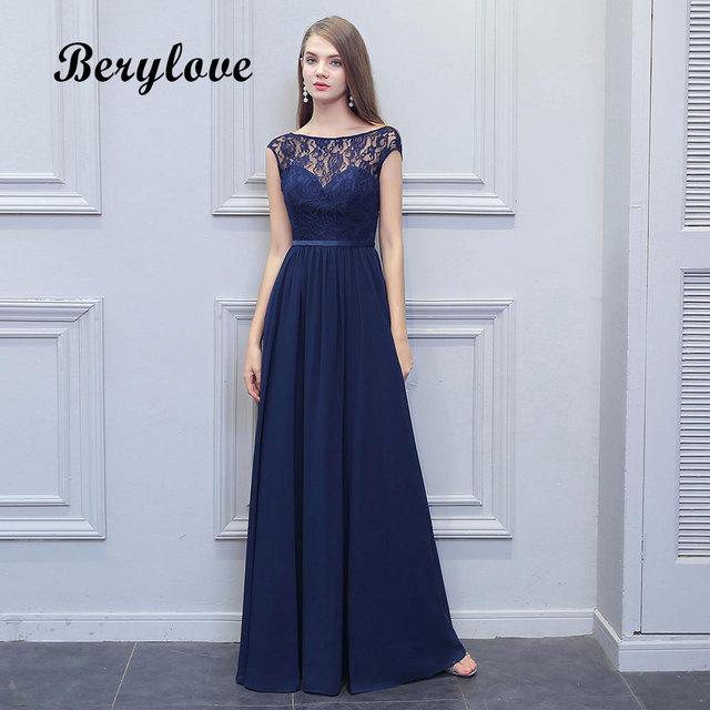 a96da9371d7 BeryLove Long Navy Blue Bridesmaid Dresses 2018 Backless Chiffon Lace  Wedding Party Dresses Bridesmaid Gowns Wedding Party Dress
