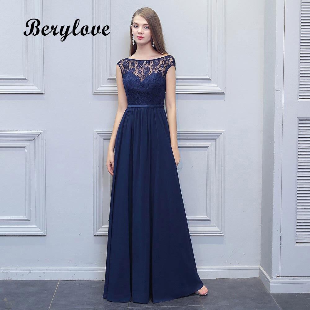 BeryLove Long Navy Blue Bridesmaid Dresses 2018 Backless Chiffon Lace Wedding Party Dresses Bridesmaid Gowns Wedding Party Dress
