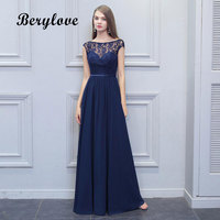 BeryLove Long Navy Blue Bridesmaid Dresses 2018 Backless Chiffon Lace Wedding Party Dresses Bridesmaid Gowns Wedding Party Dress