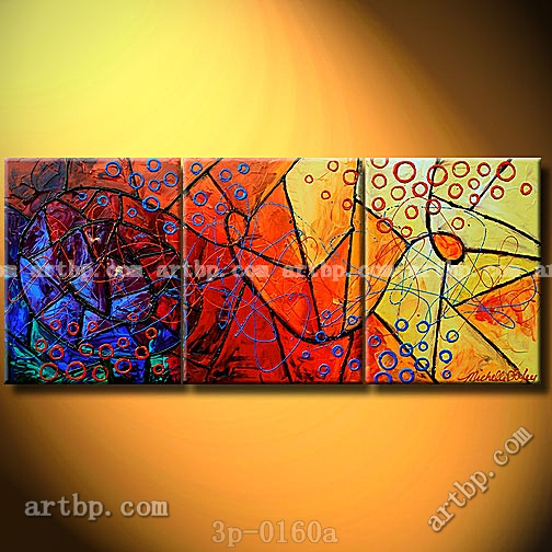 Stained glass perceptions oil painting on canvas for 3 panel painting
