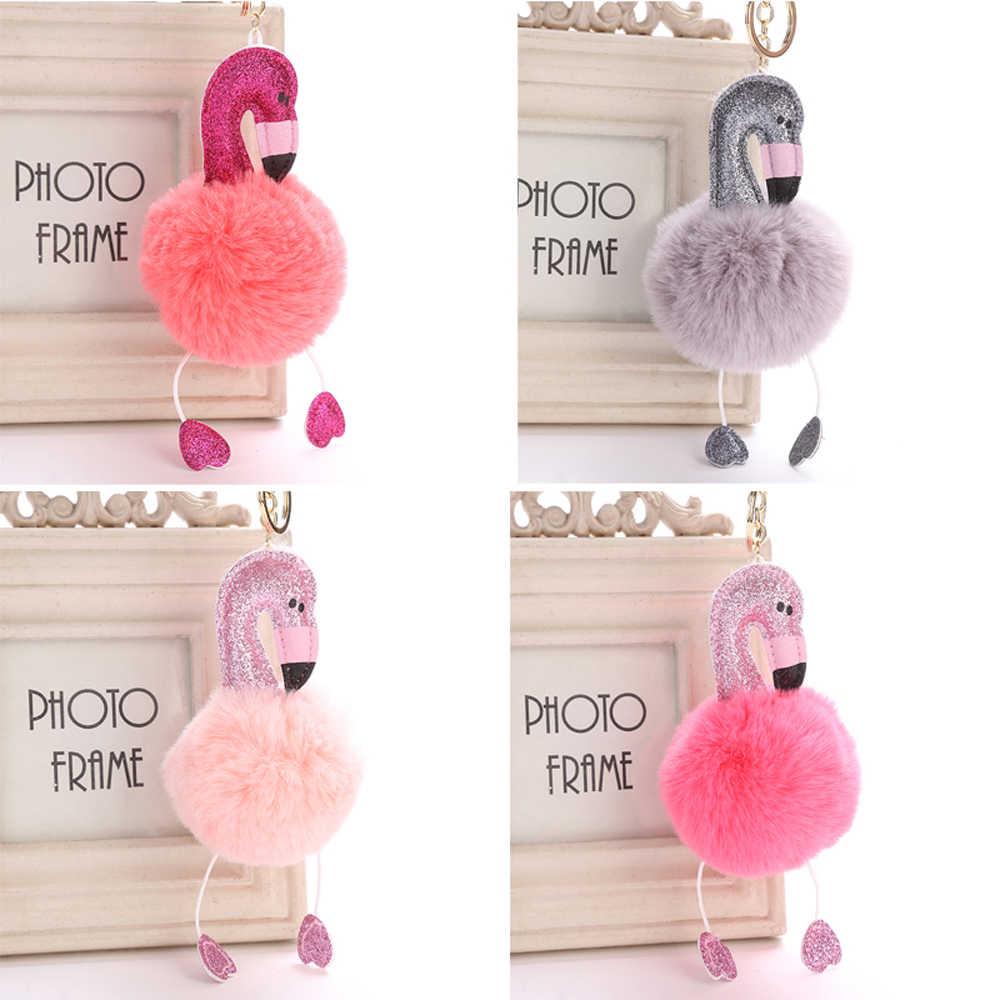 Mulheres Bonito Pompom Fofo Flamingo Pingente Chaveiro Bolsa Chaveiro Fivela Chave Do Carro Dos Desenhos Animados Chilren Meninas Brinquedos Presentes do Navio Da Gota