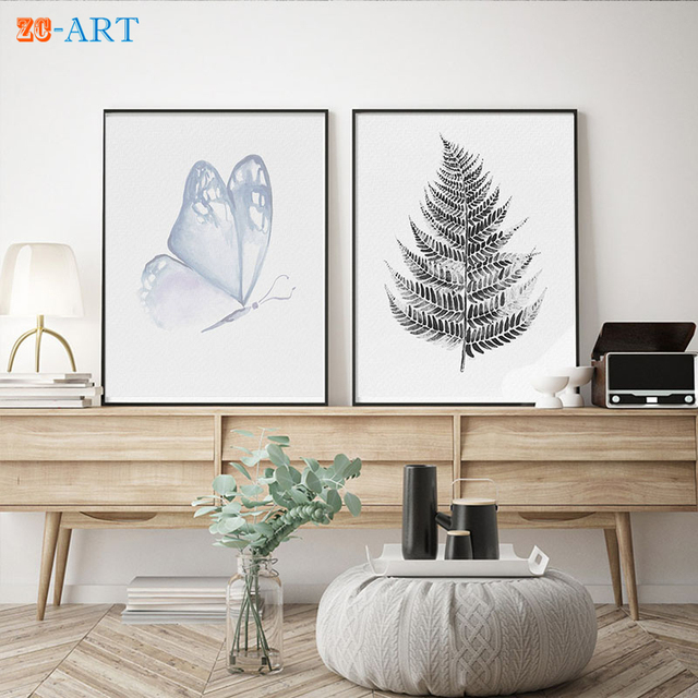 Mirror Framed Watercolor Butterfly Painting Minimalist Print Drawing ...