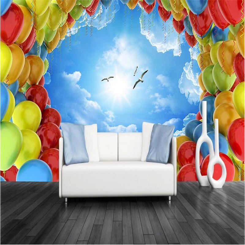 3d Wall Murals Custom Photo Wallpaper for Kids Thicken Wall Mural Sky Hot Air Balloon Wallpapers for Boys Room Home Decor Mural цена 2017