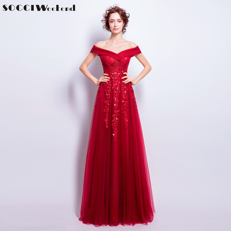 SOCCI WEEKEND Red Tulle Appliques Lace Evening Dresses 2018 Elegant Women Floor-Length Prom Dress Sexy Formal Wedding Party Gown