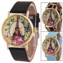 2016 Women's Effiel Tower Flower Dial Faux Leather Band Analog Quartz Wrist Watch 181 G6TN Birthdays Gifts 8HYX