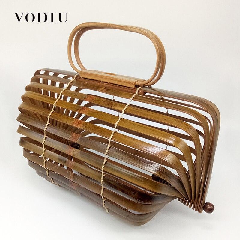 Топ-ручка сумки бохо сумка бамбука сумки Женский Bolsa выдалбливают ручной тканые Дизайн известный бренд Для женщин сцепления летом пляжная с...
