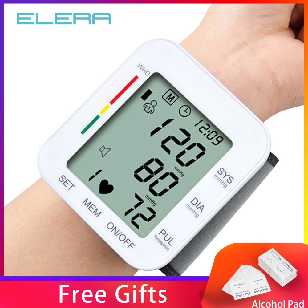 ELERA Portable Wrist Blood Pressure Monitor Automatic LCD Display Gauge Wrist Blood Pressure Meter Pulsometer Tonometer +Box(China)