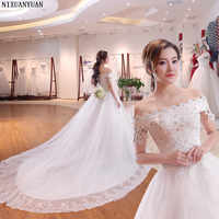 Real Image Elegant Off the Shoulder Appliqued Lace Sleeveless Off the Shoulder Puffy Ball Gown Wedding Dresses