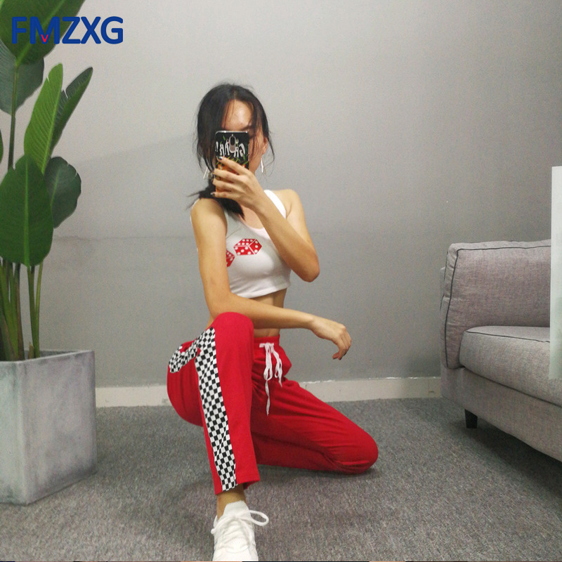 Women Track Ankle Length Pants Black White Checkerboard Plaid Jogger High Street Female Sweatpants Harem Trouser