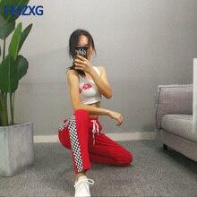 Women Track Ankle Length Pants Black White Checkerboard Plaid Jogger High Street Female Sweatpants Harem Trouser