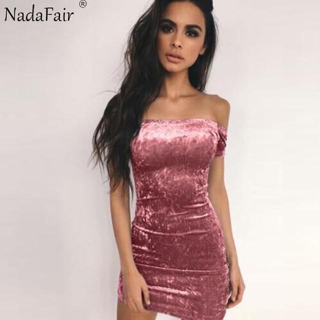 d7f7277a010 ForeFair 2018 Spring Short Sleeve Velvet Dress Black Pink Blue Sexy  Strapless Mini Bodycon Dress Women