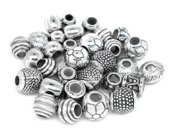 200Pcs Mixed Silver Tone CCB Plastic Spacers European Beads Fit Charm Bracelet Snake Chain Jewelry Component