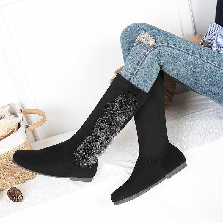 Grande taille 9 10 11-13 bottes femmes chaussures bottes pour femmes dames bottes côté monté fourrure mi cylindre fond plat