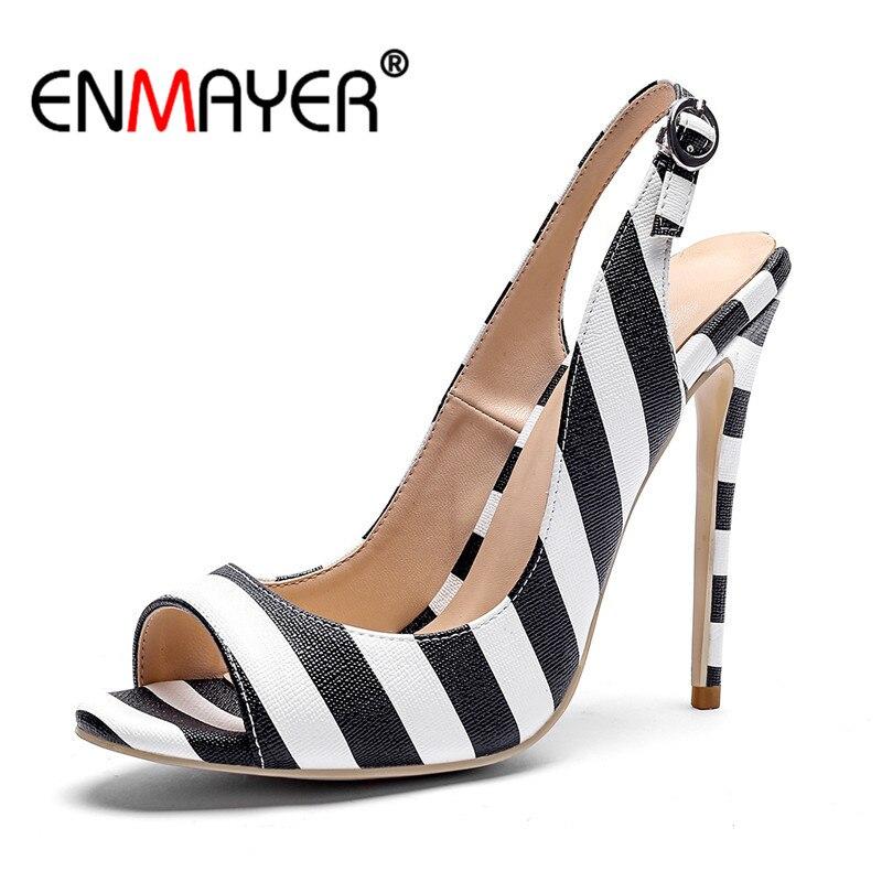 ENMAYER Woman high heels Sandals Ladies shoes Big Size 34-43 Causal Summer Party Back Buckle strap lattice Shoes women CR809