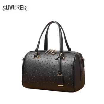 2020 New cowhide leather women genuine Leather bag fashion embossed Boston bag bag big capacity handbags women famous brands
