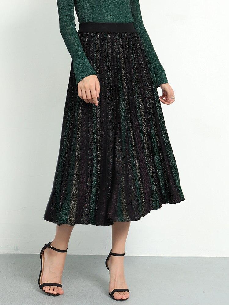 Image 2 - Elegant Pleated Skirt Women 2019 Spring Glitter Knitted Midi  Skirts Women Bling A line Sweater Long Skirt Lady Retro Shiny  SkirtSkirts
