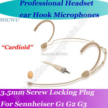 MICWL M28 Beige Cardioid Directivity Wireless Headset Microphone for Sennheiser G1 G2 G3 Bodypack Mic System