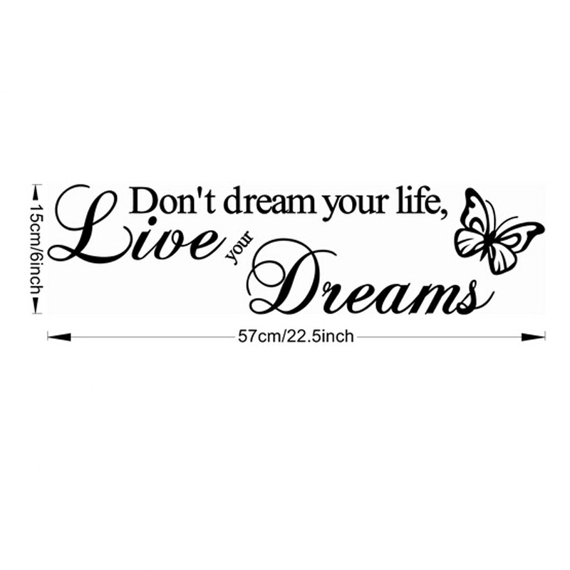 Himanjie Sticker mural en vinyle avec citation en anglais Dont dream your life live your dreams.