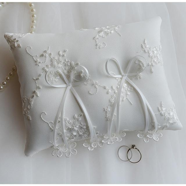 nouvelle bague de mariage oreiller coussin dentelle fleurs coussin anneaux parti decoration de mariage de mariee