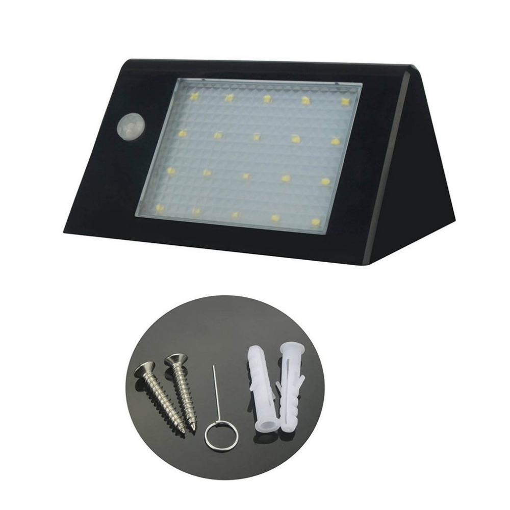 20 LED Solar Powered Wall Light Outdoor Waterproof Motion Sensor Wall Lamp Energency Saving Porch Lighting New Black