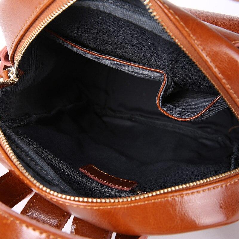 Купить с кэшбэком ZENCY Luxury Vintage Genuine Leather Oil Wax Cowhide Real Leather Women Backpacks Female Ladies Backpack School Book Style Bags