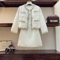 2018 Spring Autumn Small Fragrance Sets Women Tweed Knitted Jackets + Vest Dress Girl Ladies Dress Set Party Vestidos Femme