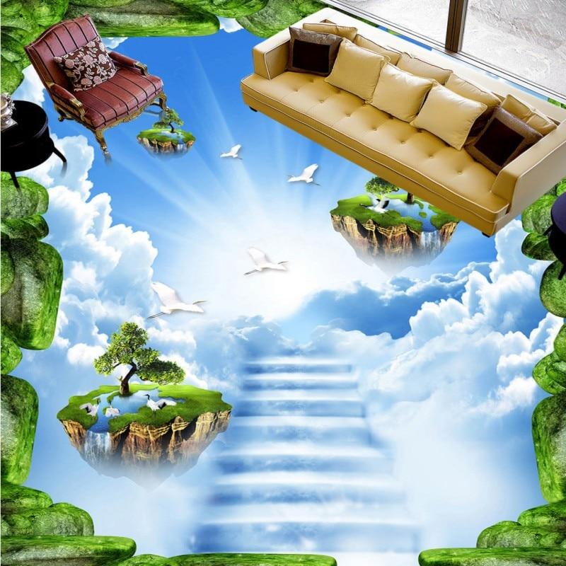 где купить Free shipping custom Bluestone dream sky floor stickers self-adhesive moisture proof flooring living room 3d wallpaper mural по лучшей цене