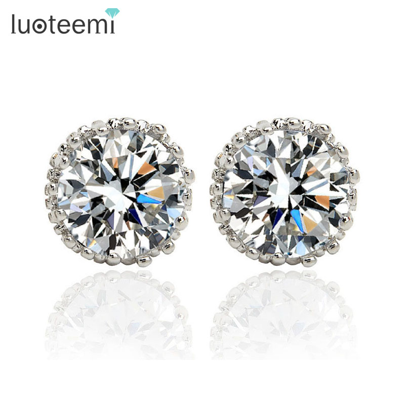 LUOTEEMI Best Selling CZ Diamond Stud font b Earrings b font White Gold Plated Fashion Zircon