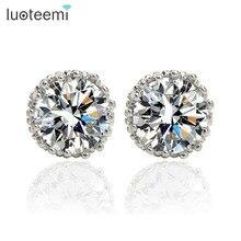 LUOTEEMI Best Selling CZ Diamond Stud Earrings White Gold Plated Fashion Zircon Earrings for Women Wholesale Brand Jewelry