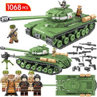 1068pcs Military IS 2M Heavy Tank Soldier Weapon Building Blocks Compatible LegoINGLY Tank WW2 Bricks Army 100062 Toys for Boys