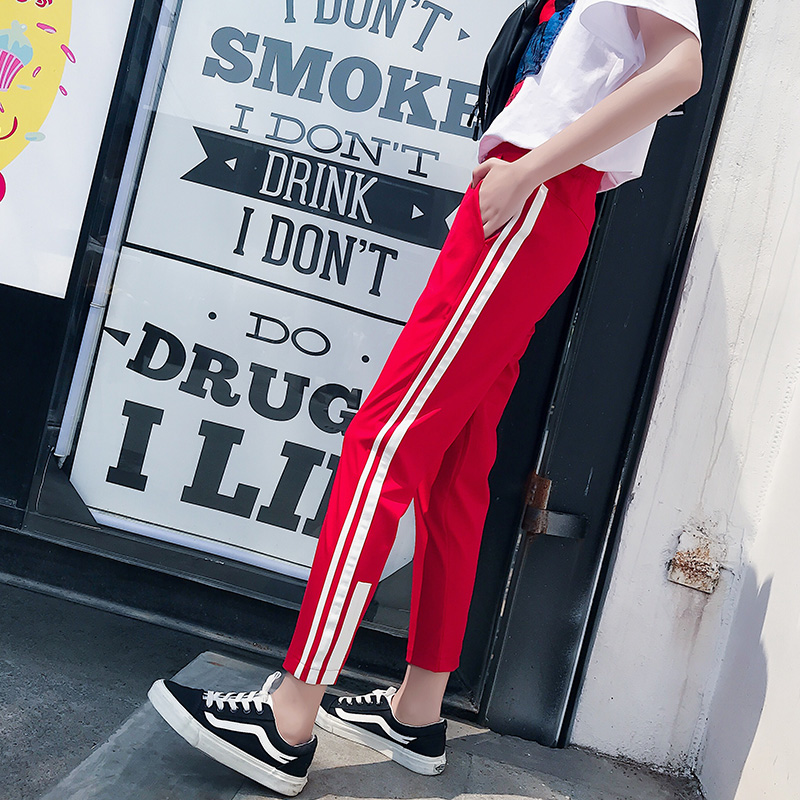 Summre Striped Harajuku Pants Black Punk Rock Trousers