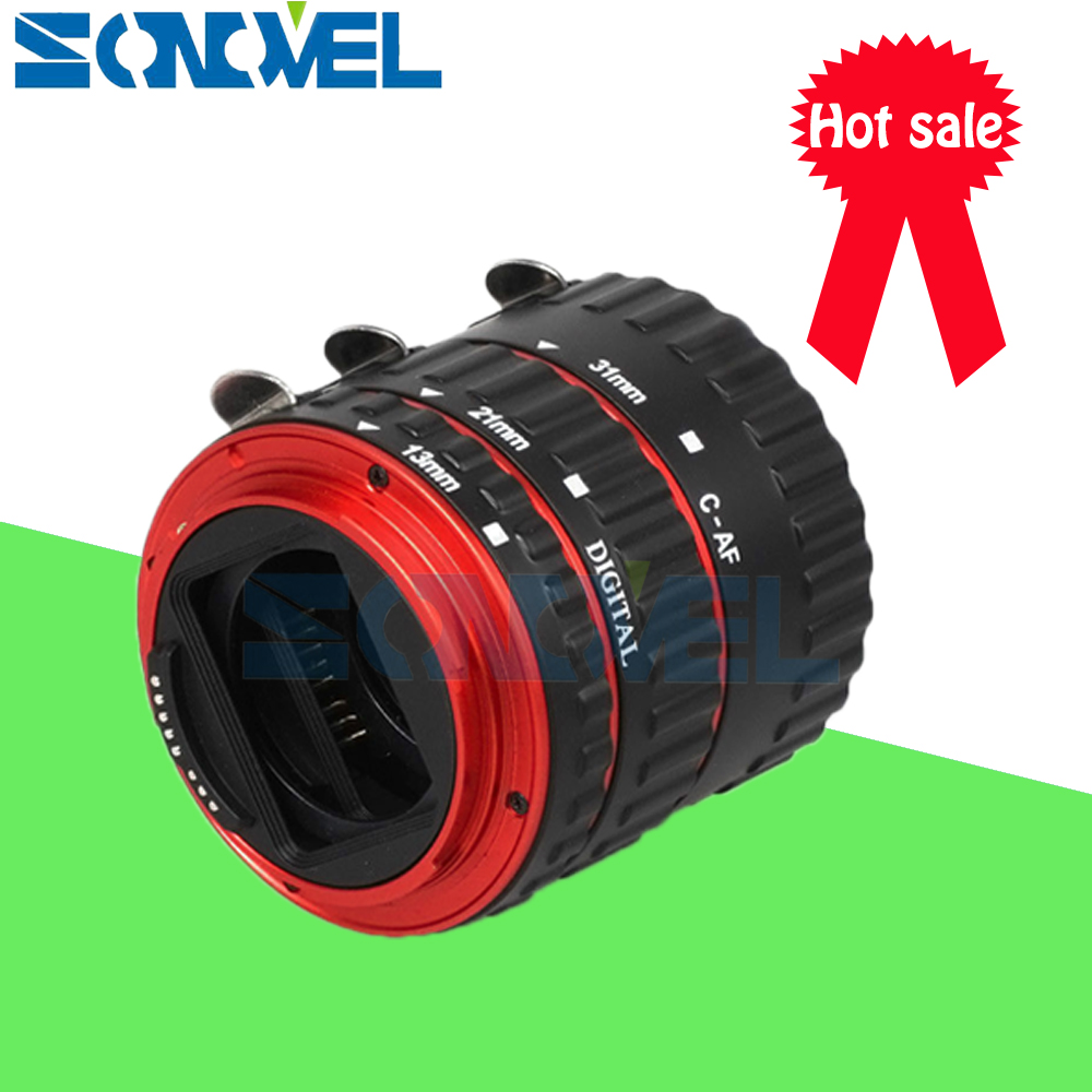 Red Metal TTL Auto Focus AF Macro Extension Tube Ring Lens Adapter Ring for Canon EOS