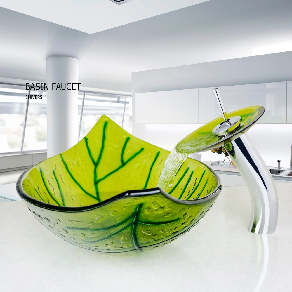 Modern Luxury Basin Sink Faucet Set Tempered Glass Vessel Vanity Green Leaf  Shape Basin Sink Waterfall Faucet In Bathroom Sinks From Home Improvement  On ...