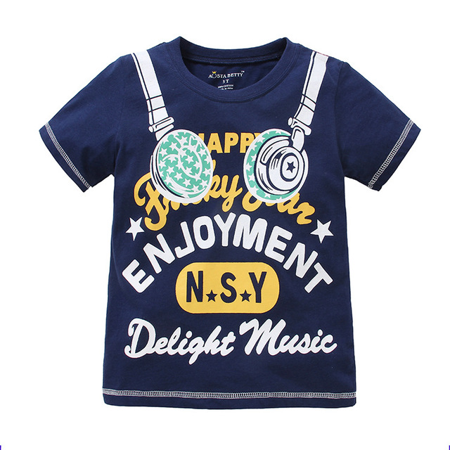 Good Brand Summer Children Clothing Boys Cotton T Shirts Kids Clothes Headset Print Design Letter