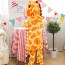 Photography Kid Boys Girls Party Clothes Pijamas Flannel Pajamas Child Pyjamas Hooded Sleepwear Cartoon Animal giraffe