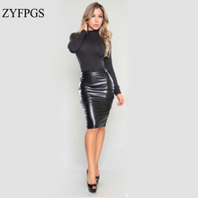 ZYFPGS 2019 Spring Summer Sexy Woman Skirt Skirts Faux Leather New Arrivals Retro #D0057