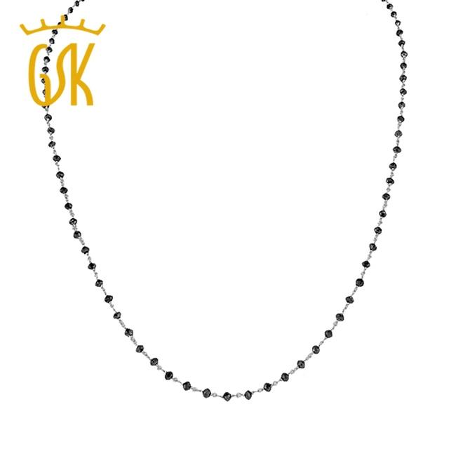 """Gemstoneking 6.00 ct impresionante 2mm perlas de diamantes 14 k oro blanco natural negro 18 """"collar de las mujeres de lujo fina joyería"""