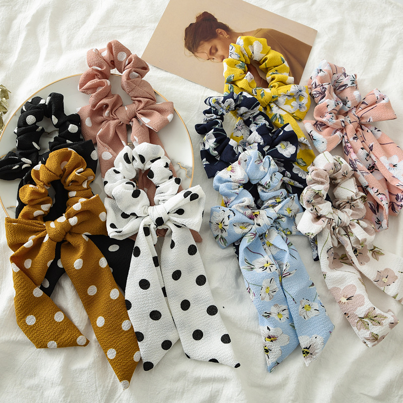 2 In 1 Flower Point Streamers Hair Ring Fashion Ribbon Girl Hair Bands Scrunchie Horsetail Tie Solid Headwear Hair Accessories