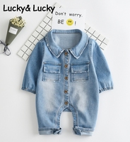 New Baby Clothes Fashion Denim Baby Rompers Newborn Baby Rompers Baby Boy Rompers