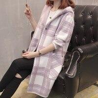 Poncho New Arrival Jumper Long Cardigans Sweater Women Korean Version Hooded 2018 New Style Imitation Mink Female Coat Plaid