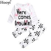 Hooyi Baby Girl Clothes Suits Trouble Toddler T-Shirt Pants Character Newborn Outfits 100% Cotton Soft Girls Clothing Sets
