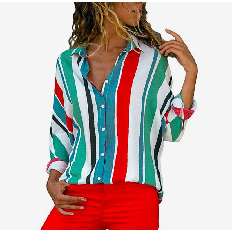 Striped Rainbow Long Sleeve Women's Blouse Spring Button Turn Down Collar Womens Shirt 2019 Summer Loose Shirts Plus Size 5XL