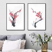 New Chinese Simple Plum Blossom Canvas Painting Modular Wall Pictures for Living Room Modern Home Decor Art Posters and Prints